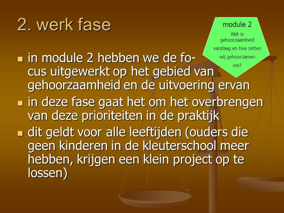 2. werk fase  in module 2 hebben we de fo- cus uitgewerkt op het gebied van gehoorzaamheid en de uitvoering ervan  in deze fase gaat het om het over