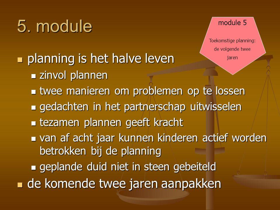 5. module  planning is het halve leven  zinvol plannen  twee manieren om problemen op te lossen  gedachten in het partnerschap uitwisselen  tezam
