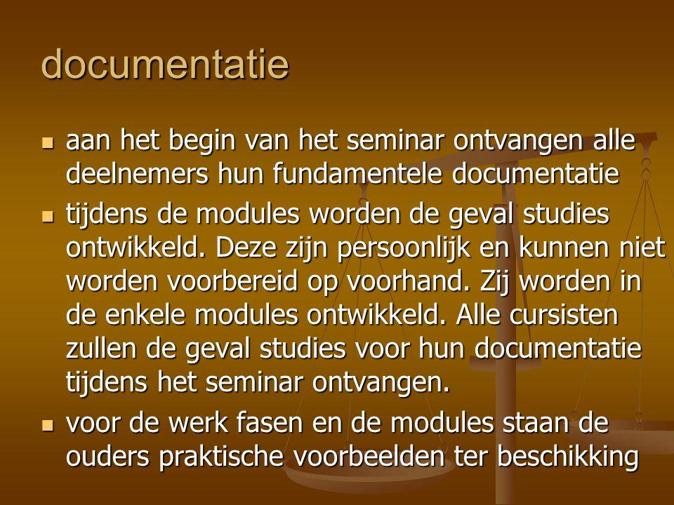 documentatie  aan het begin van het seminar ontvangen alle deelnemers hun fundamentele documentatie  tijdens de modules worden de geval studies ontw