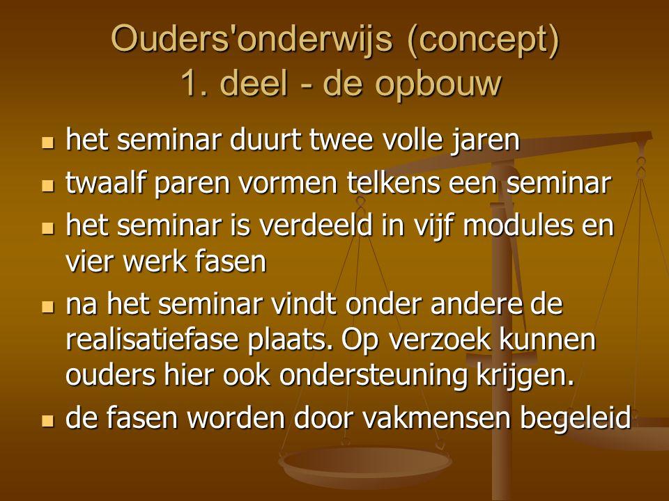 Ouders'onderwijs (concept) 1. deel - de opbouw  het seminar duurt twee volle jaren  twaalf paren vormen telkens een seminar  het seminar is verdeel