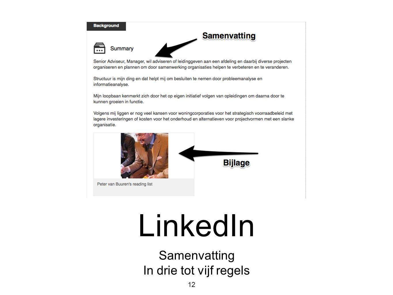 LinkedIn Samenvatting In drie tot vijf regels 12