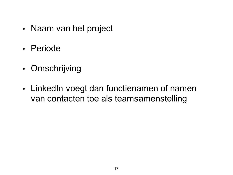 • Naam van het project • Periode • Omschrijving • LinkedIn voegt dan functienamen of namen van contacten toe als teamsamenstelling 17