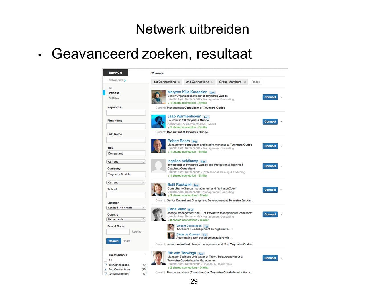 29 • Geavanceerd zoeken, resultaat Netwerk uitbreiden