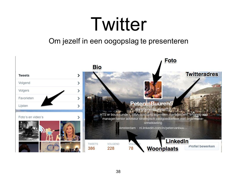 38 Twitter Om jezelf in een oogopslag te presenteren