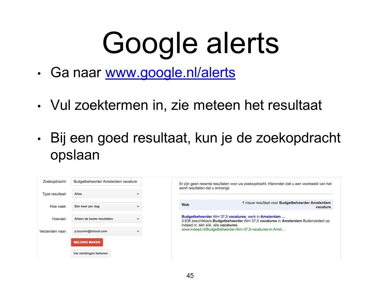Google alerts • Ga naar www.google.nl/alertswww.google.nl/alerts • Vul zoektermen in, zie meteen het resultaat • Bij een goed resultaat, kun je de zoe