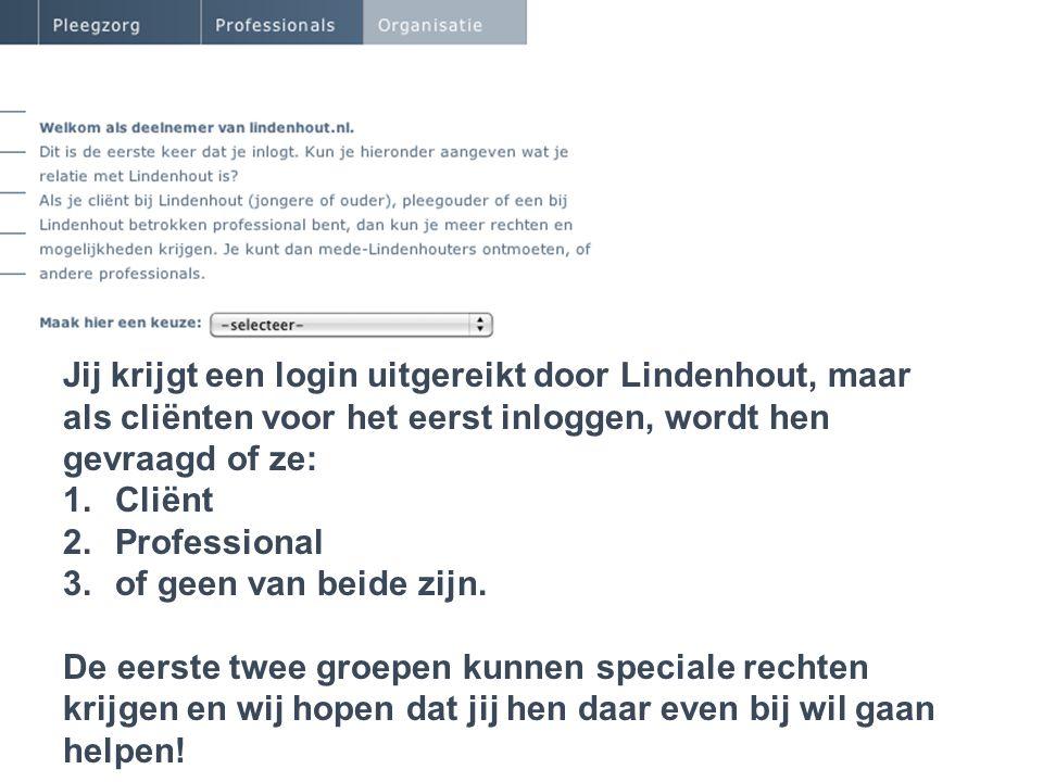 De nieuwe Lindenhout webomgeving Jij krijgt een login uitgereikt door Lindenhout, maar als cliënten voor het eerst inloggen, wordt hen gevraagd of ze:
