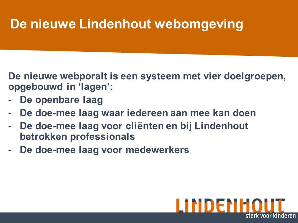 De nieuwe Lindenhout webomgeving De nieuwe webporalt is een systeem met vier doelgroepen, opgebouwd in 'lagen': -De openbare laag -De doe-mee laag waa