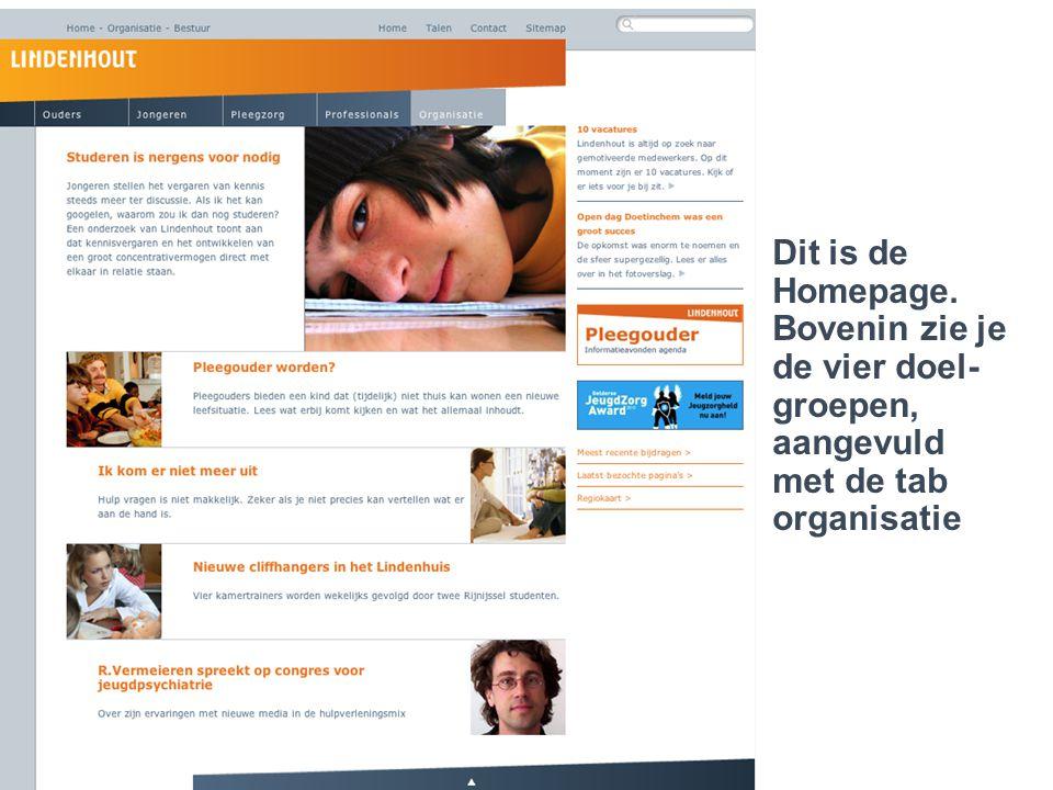 Lindenhout 2.0..een jongere die cliënt is Dit is de Homepage. Bovenin zie je de vier doel- groepen, aangevuld met de tab organisatie