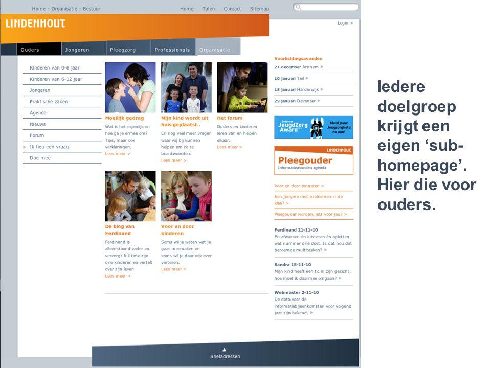 Lindenhout 2.0 gescheiden vader n moeder met kind dat in therapie is Iedere doelgroep krijgt een eigen 'sub- homepage'. Hier die voor ouders.