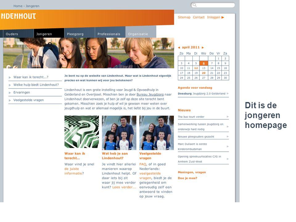 Lindenhout 2.0..een jongere die cliënt is Dit is de Dit is de homepage voor professio- nals.