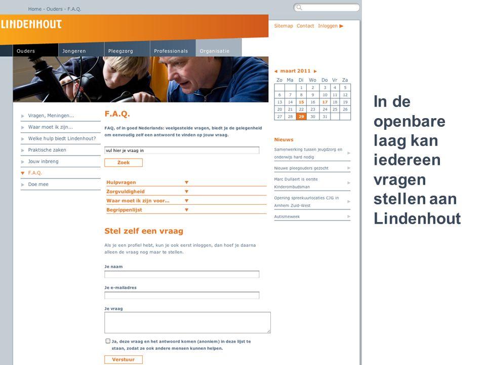 Lindenhout 2.0..een jongere die cliënt is In de openbare laag kan iedereen vragen stellen aan Lindenhout
