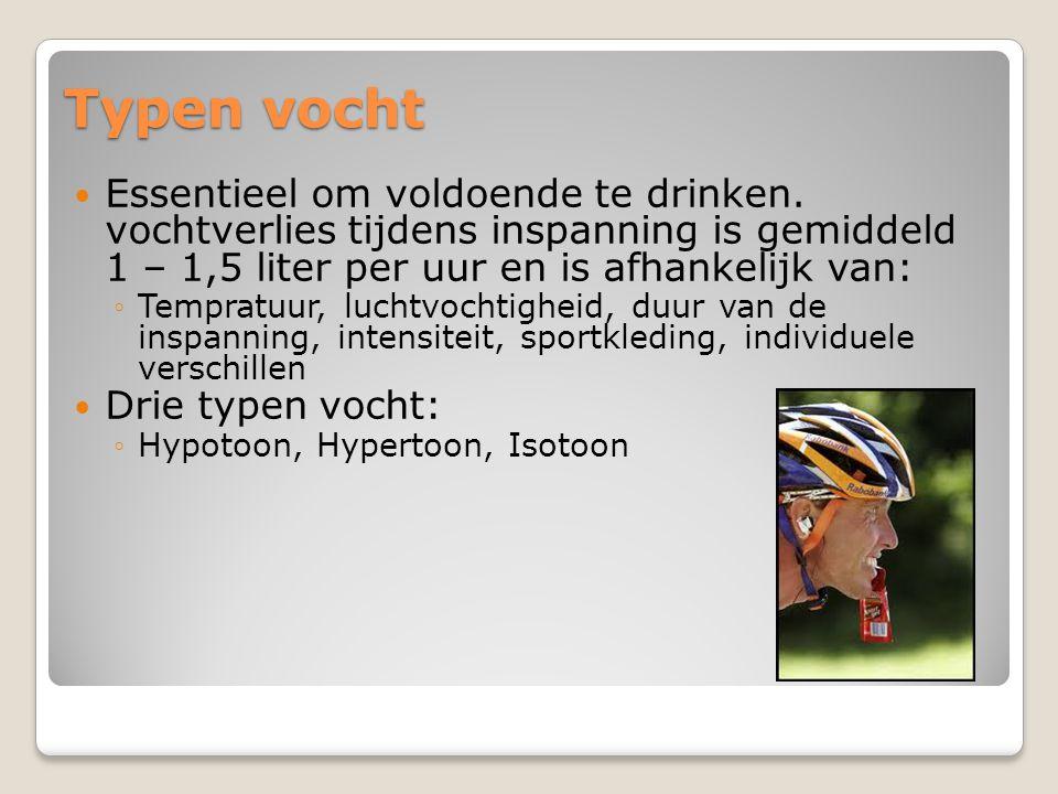Typen vocht  Essentieel om voldoende te drinken. vochtverlies tijdens inspanning is gemiddeld 1 – 1,5 liter per uur en is afhankelijk van: ◦Tempratuu