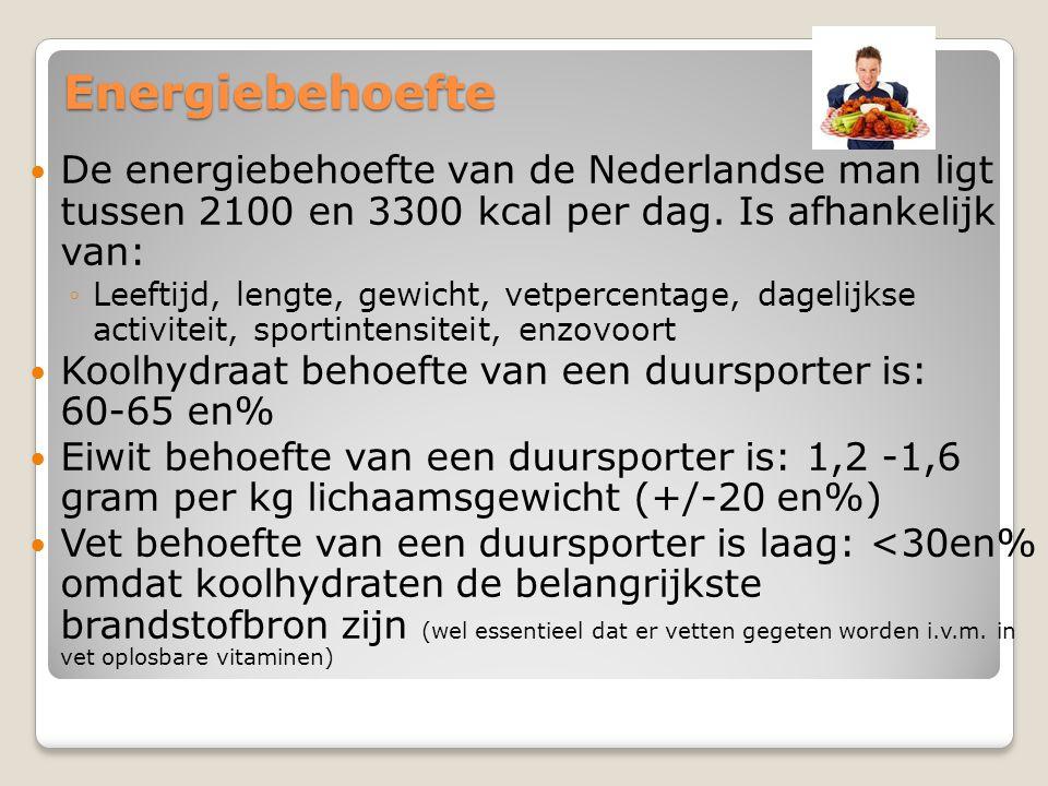 Energiebehoefte  De energiebehoefte van de Nederlandse man ligt tussen 2100 en 3300 kcal per dag. Is afhankelijk van: ◦Leeftijd, lengte, gewicht, vet