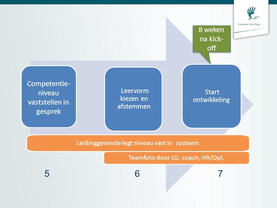 Leidinggevende legt niveau vast in systeem Teamfoto door LG, coach, HR/Opl.