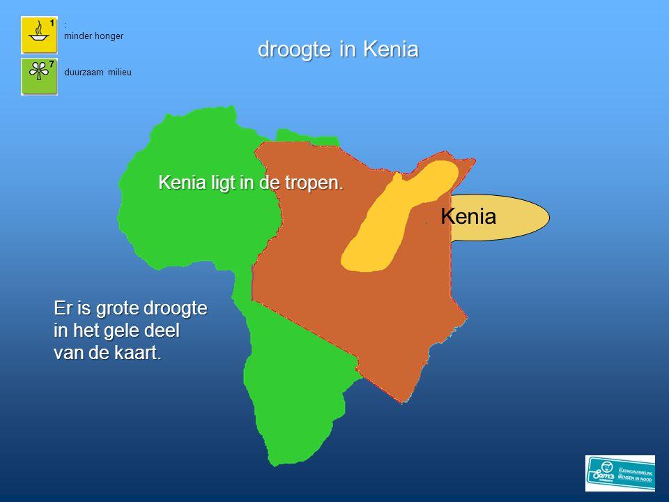 : minder honger droogte in Kenia duurzaam milieu Kenia Er is grote droogte in het gele deel van de kaart. Kenia ligt in de tropen.