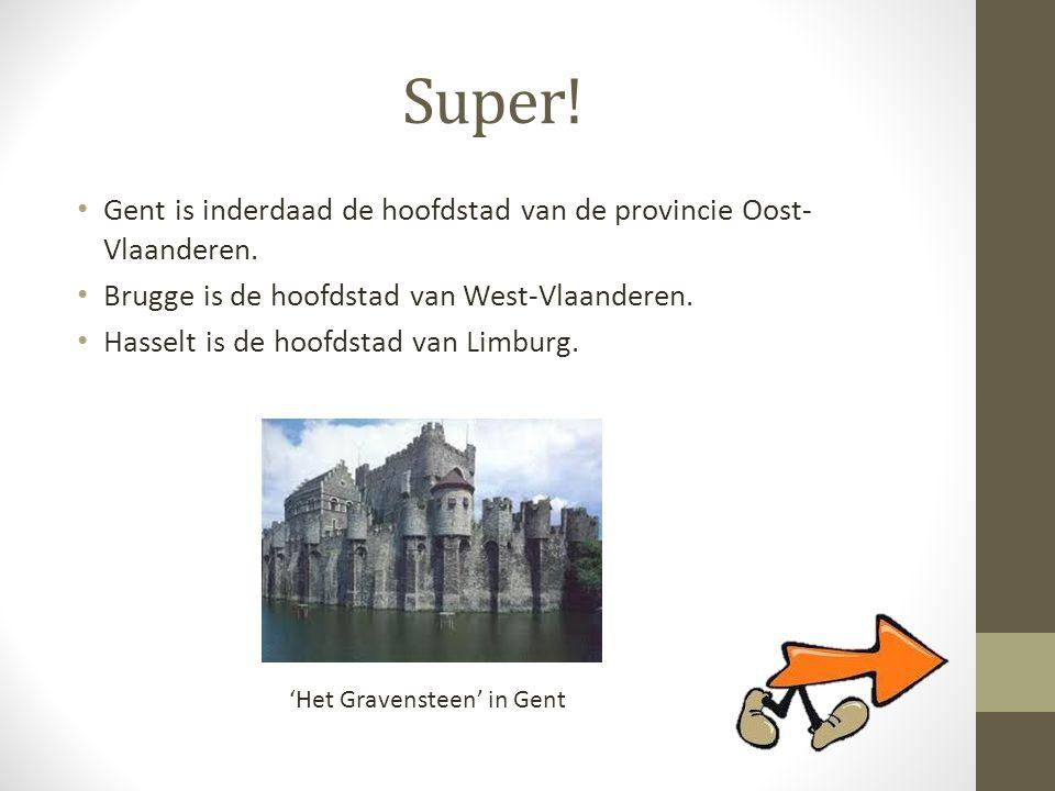 Super! • Gent is inderdaad de hoofdstad van de provincie Oost- Vlaanderen. • Brugge is de hoofdstad van West-Vlaanderen. • Hasselt is de hoofdstad van
