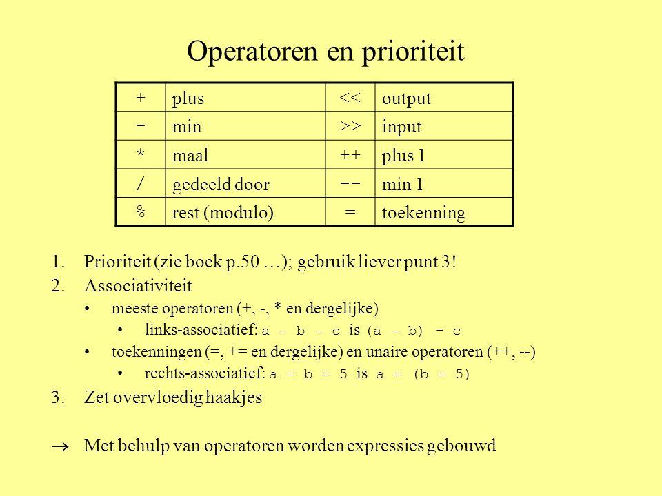 Operatoren en prioriteit 1.Prioriteit (zie boek p.50 …); gebruik liever punt 3.