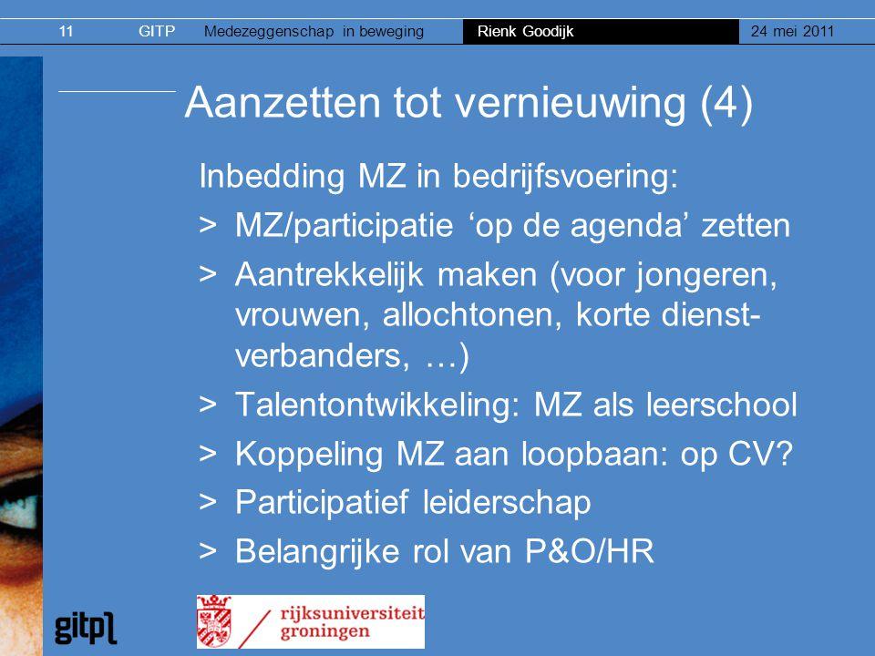 GITPMedezeggenschap in beweging Rienk Goodijk 24 mei 201111 Aanzetten tot vernieuwing (4) Inbedding MZ in bedrijfsvoering: >MZ/participatie 'op de age