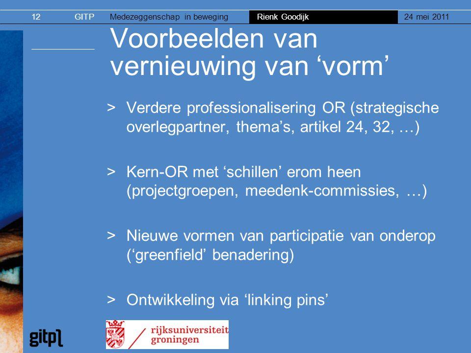GITPMedezeggenschap in beweging Rienk Goodijk 24 mei 201112 Voorbeelden van vernieuwing van 'vorm' >Verdere professionalisering OR (strategische overl