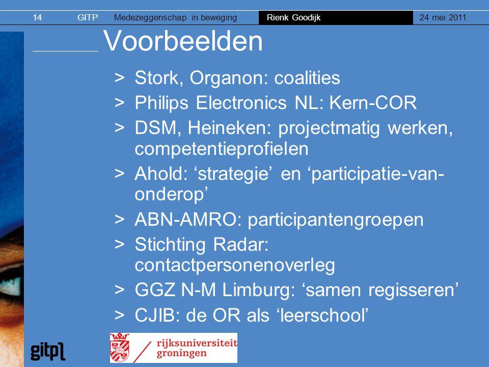 GITPMedezeggenschap in beweging Rienk Goodijk 24 mei 201114 Voorbeelden >Stork, Organon: coalities >Philips Electronics NL: Kern-COR >DSM, Heineken: p