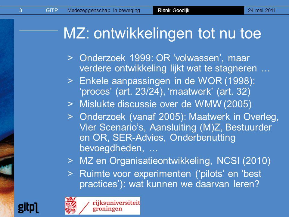 GITPMedezeggenschap in beweging Rienk Goodijk 24 mei 20113 MZ: ontwikkelingen tot nu toe >Onderzoek 1999: OR 'volwassen', maar verdere ontwikkeling li