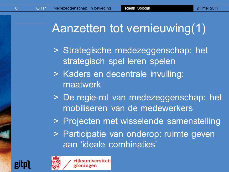 GITPMedezeggenschap in beweging Rienk Goodijk 24 mei 20118 Aanzetten tot vernieuwing(1) >Strategische medezeggenschap: het strategisch spel leren spel