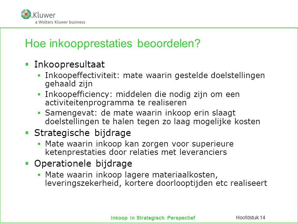 Inkoop in Strategisch Perspectief Hoe inkoopprestaties beoordelen?  Inkoopresultaat  Inkoopeffectiviteit: mate waarin gestelde doelstellingen gehaal