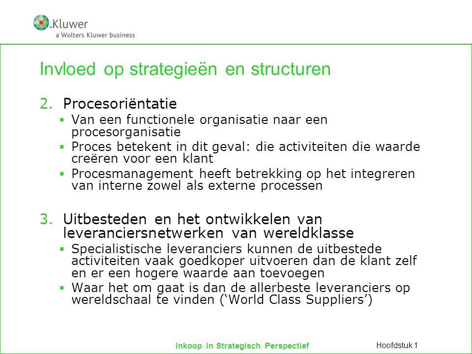 Inkoop in Strategisch Perspectief Conclusies  Het werkterrein van de inkoopfunctie strekt zich uit van de inkoopmarkt tot binnen de bedrijfspoort.