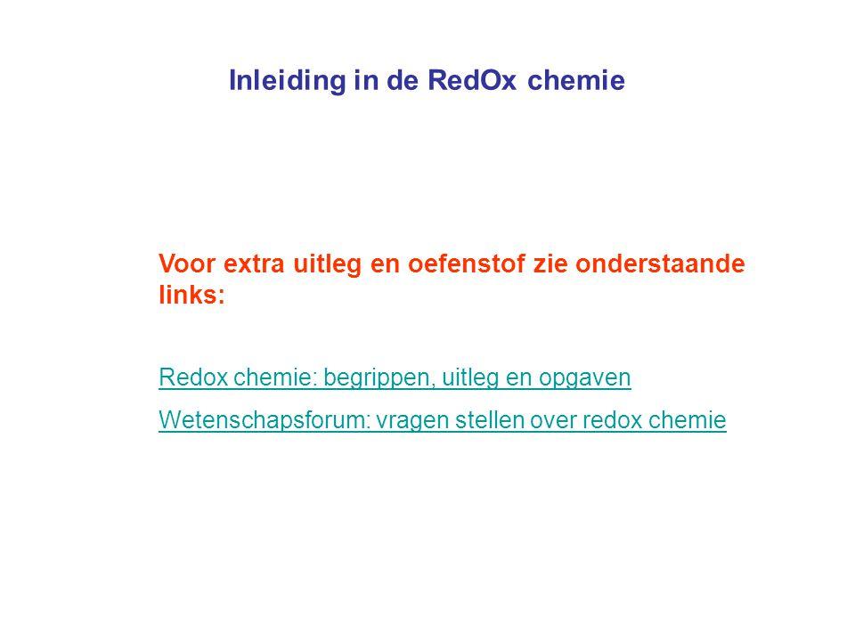 Inleiding in de RedOx chemie Voor extra uitleg en oefenstof zie onderstaande links: Redox chemie: begrippen, uitleg en opgaven Wetenschapsforum: vrage