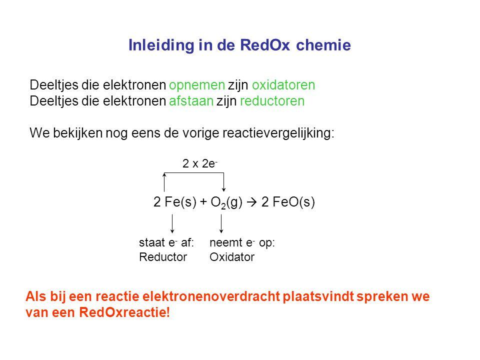 Inleiding in de RedOx chemie Halfreacties zelf opstellen 1.Bepaal de oxidatiegetallen van de atomen en schrijf de elektronenoverdracht op.