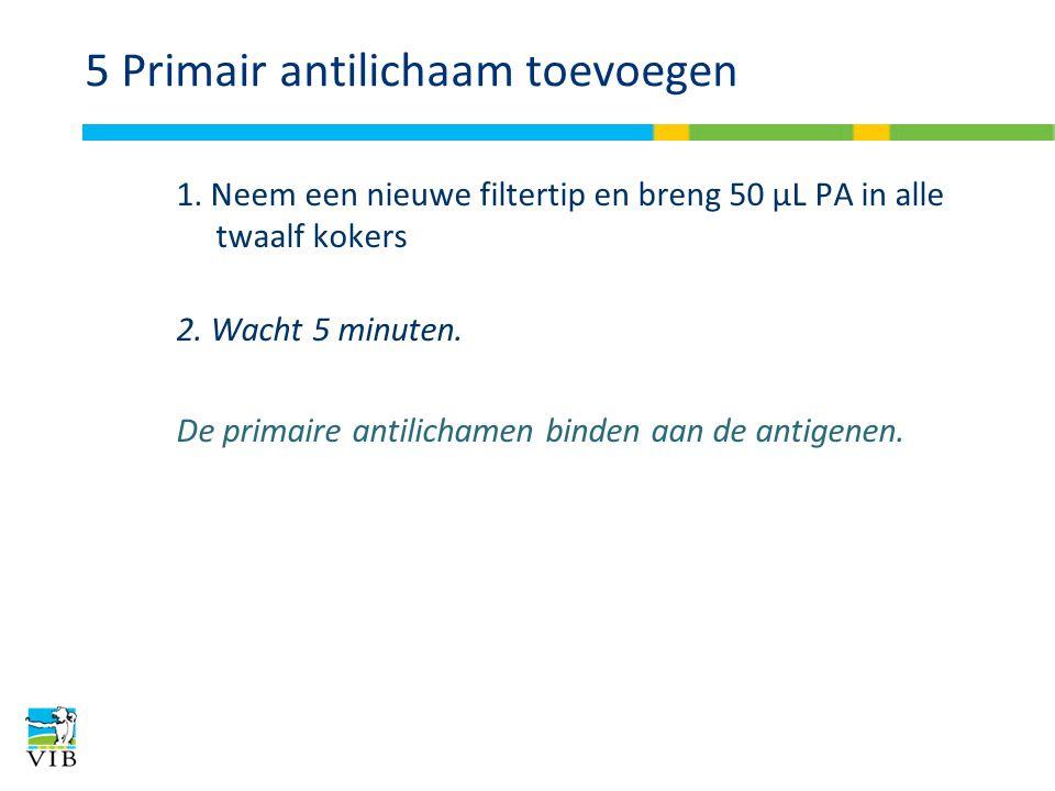 5 Primair antilichaam toevoegen 1. Neem een nieuwe filtertip en breng 50 μL PA in alle twaalf kokers 2. Wacht 5 minuten. De primaire antilichamen bind