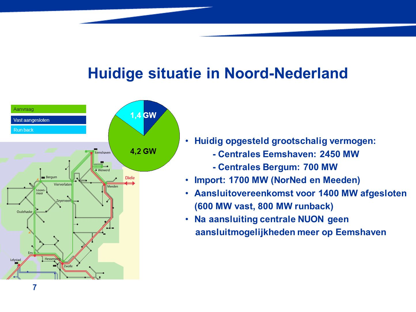 7 Huidige situatie in Noord-Nederland 1,4 GW 4,2 GW •Huidig opgesteld grootschalig vermogen: - Centrales Eemshaven: 2450 MW - Centrales Bergum: 700 MW •Import: 1700 MW (NorNed en Meeden) •Aansluitovereenkomst voor 1400 MW afgesloten (600 MW vast, 800 MW runback) •Na aansluiting centrale NUON geen aansluitmogelijkheden meer op Eemshaven Aanvraag Vast aangesloten Run back