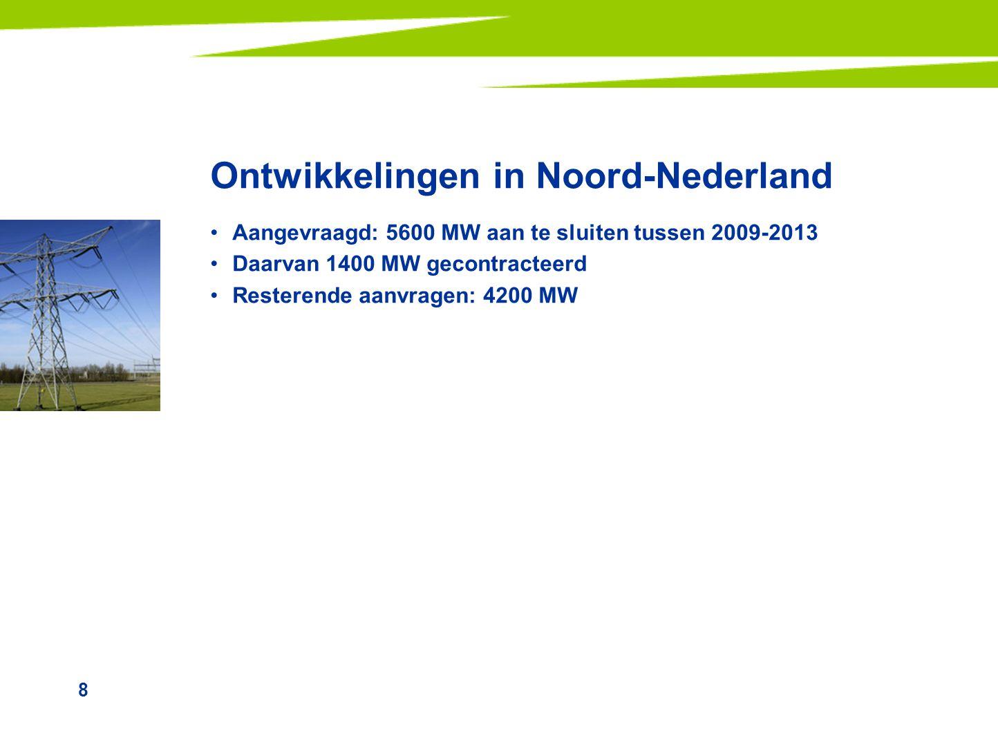 8 Ontwikkelingen in Noord-Nederland •Aangevraagd: 5600 MW aan te sluiten tussen 2009-2013 •Daarvan 1400 MW gecontracteerd •Resterende aanvragen: 4200 MW