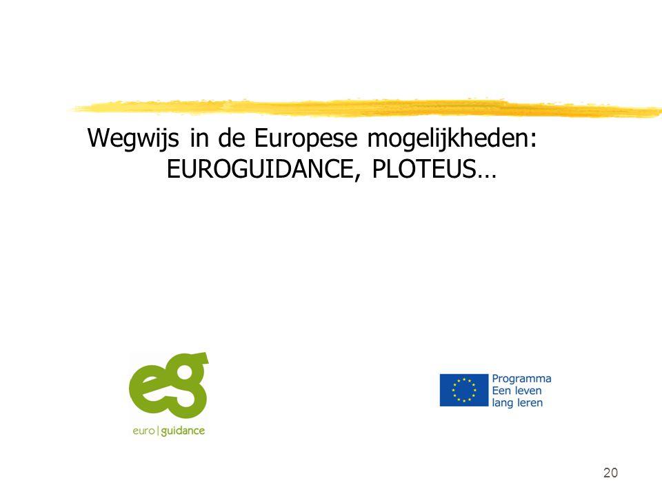 20 Wegwijs in de Europese mogelijkheden: EUROGUIDANCE, PLOTEUS…