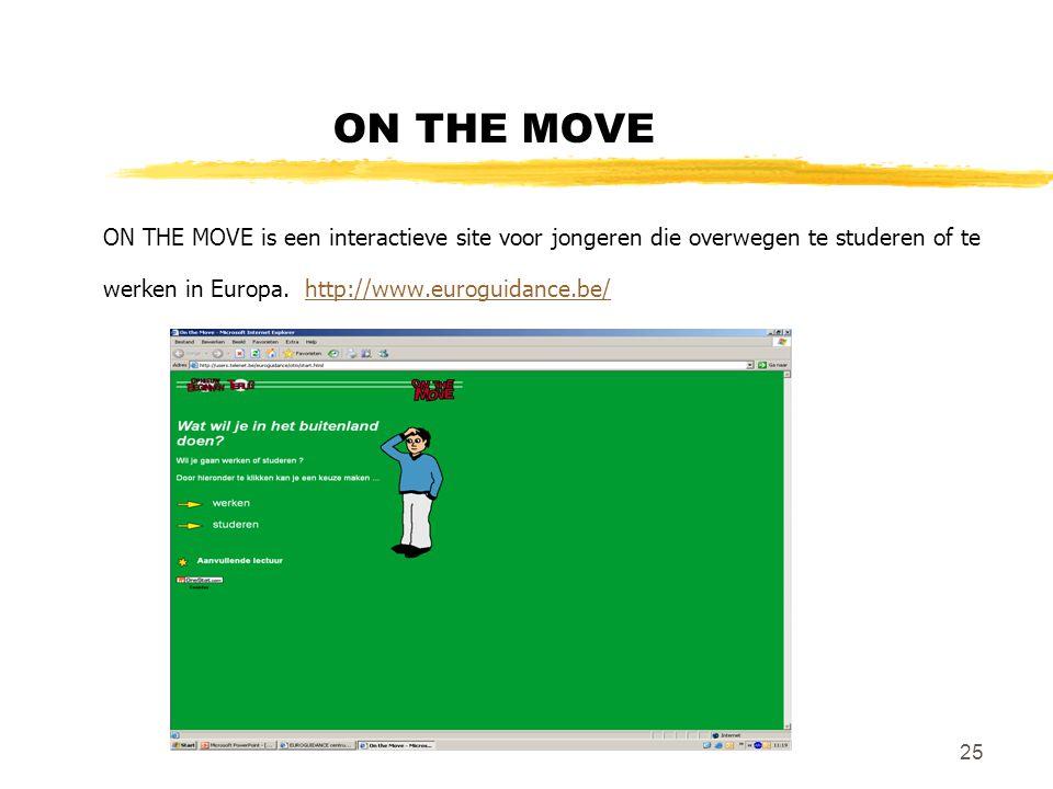 25 ON THE MOVE ON THE MOVE is een interactieve site voor jongeren die overwegen te studeren of te werken in Europa. http://www.euroguidance.be/ http:/