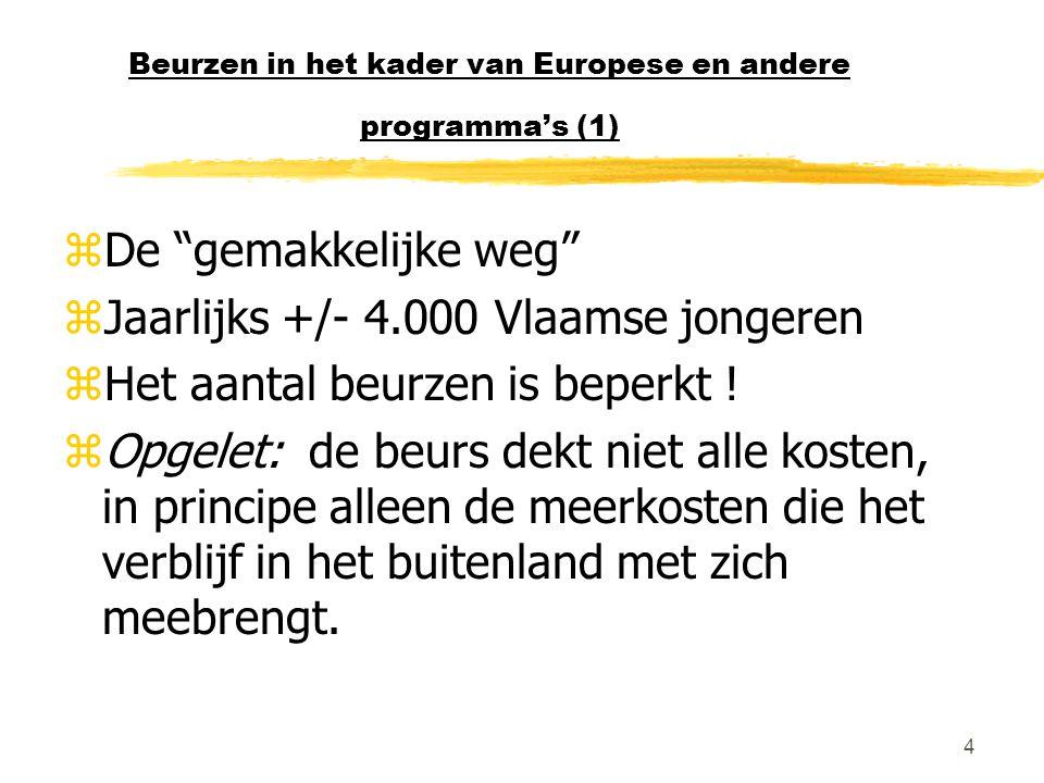 """4 Beurzen in het kader van Europese en andere programma's (1) zDe """"gemakkelijke weg"""" zJaarlijks +/- 4.000 Vlaamse jongeren zHet aantal beurzen is bepe"""