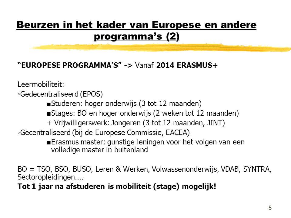 """5 Beurzen in het kader van Europese en andere programma's (2) """"EUROPESE PROGRAMMA'S"""" -> Vanaf 2014 ERASMUS+ Leermobiliteit: ◦Gedecentraliseerd (EPOS)"""