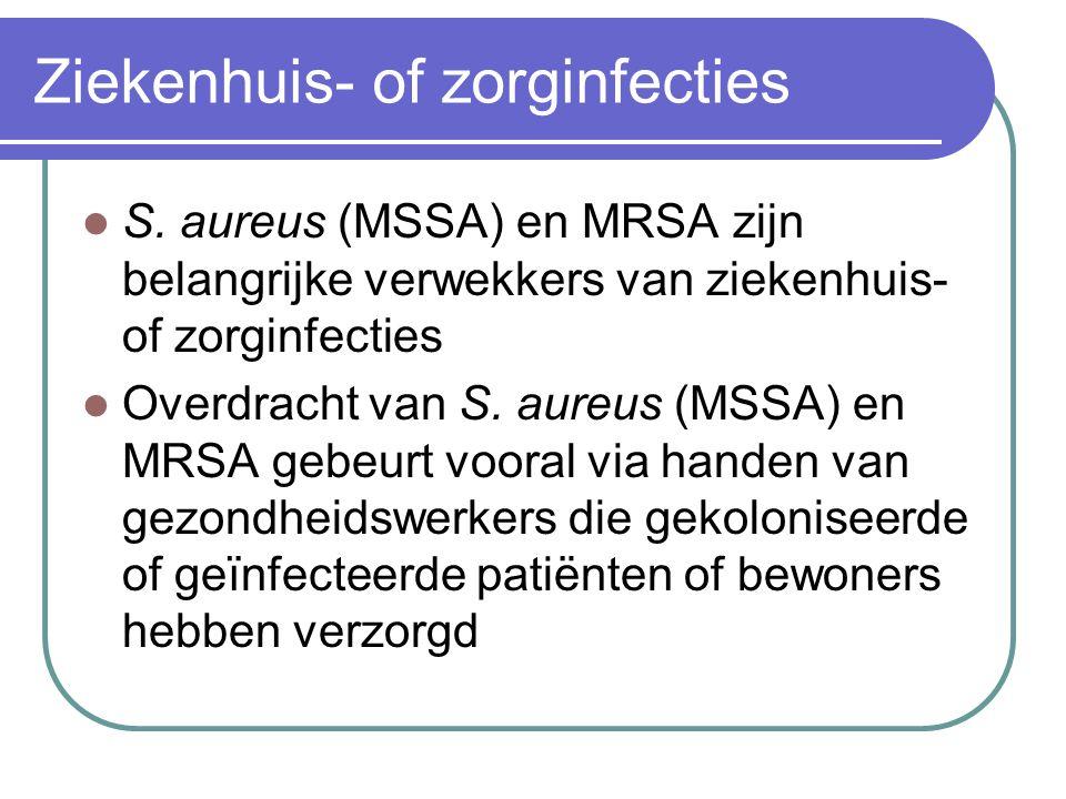 Ziekenhuis- of zorginfecties  S. aureus (MSSA) en MRSA zijn belangrijke verwekkers van ziekenhuis- of zorginfecties  Overdracht van S. aureus (MSSA)