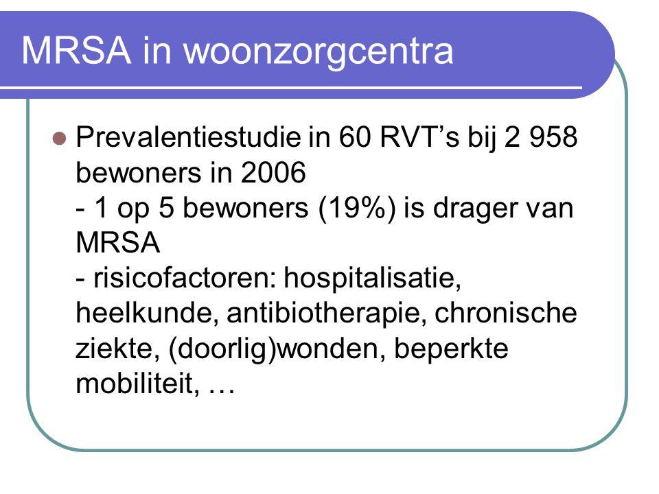 MRSA in woonzorgcentra  Prevalentiestudie in 60 RVT's bij 2 958 bewoners in 2006 - 1 op 5 bewoners (19%) is drager van MRSA - risicofactoren: hospita
