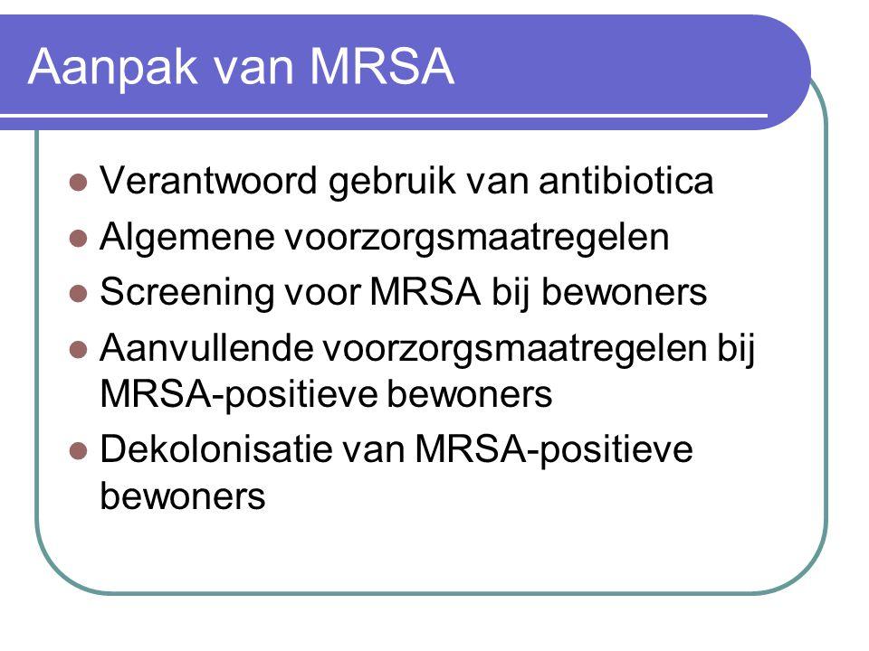 Aanpak van MRSA  Verantwoord gebruik van antibiotica  Algemene voorzorgsmaatregelen  Screening voor MRSA bij bewoners  Aanvullende voorzorgsmaatre