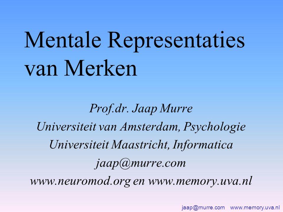 jaap@murre.com www.memory.uva.nl Vormen van geheugen •Aandacht en korte termijn geheugen (seconden) •Werkgeheugen (minuten) •Lange-termijn geheugen (dagen) •Zeer lange termijn geheugen (maanden, jaren) •Semantische kennis