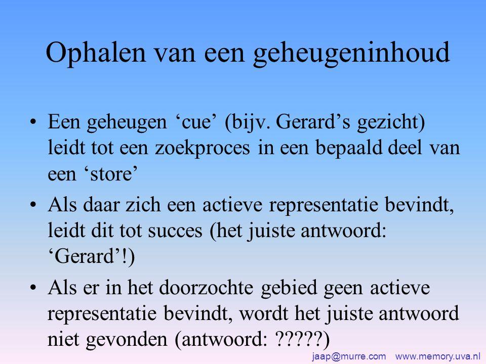 jaap@murre.com www.memory.uva.nl Ophalen van een geheugeninhoud •Een geheugen 'cue' (bijv. Gerard's gezicht) leidt tot een zoekproces in een bepaald d