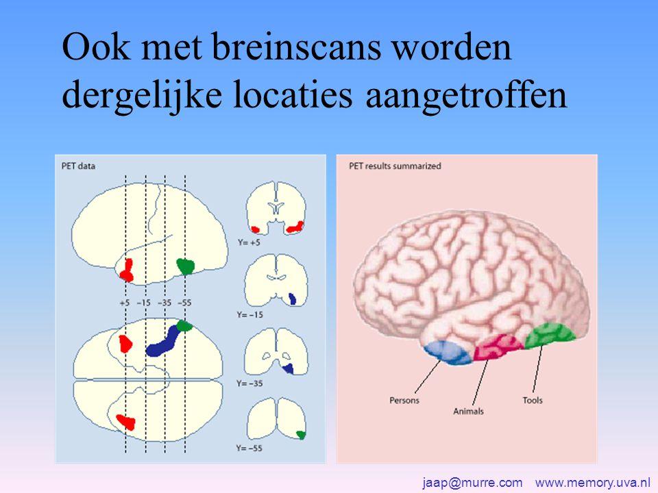 jaap@murre.com www.memory.uva.nl Ook met breinscans worden dergelijke locaties aangetroffen