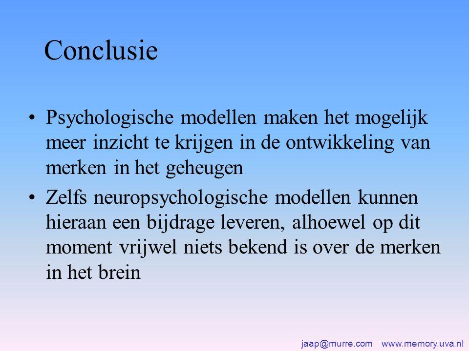 jaap@murre.com www.memory.uva.nl Conclusie •Psychologische modellen maken het mogelijk meer inzicht te krijgen in de ontwikkeling van merken in het geheugen •Zelfs neuropsychologische modellen kunnen hieraan een bijdrage leveren, alhoewel op dit moment vrijwel niets bekend is over de merken in het brein