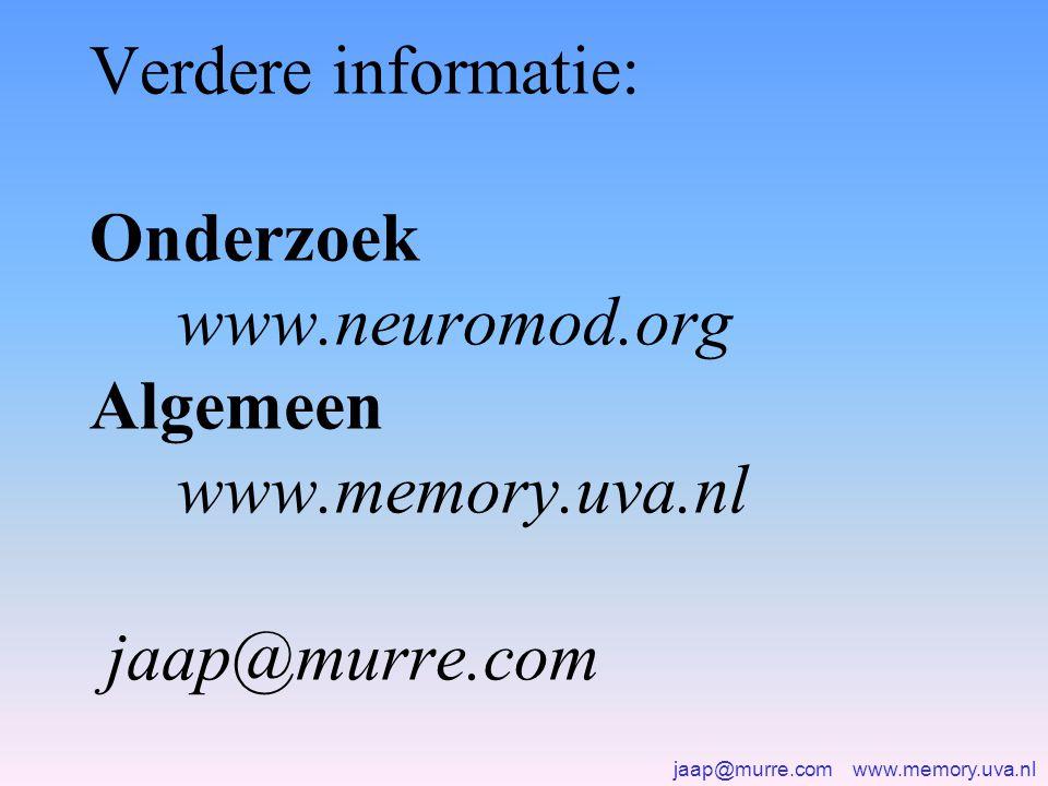 jaap@murre.com www.memory.uva.nl Verdere informatie: Onderzoek www.neuromod.org Algemeen www.memory.uva.nl jaap@murre.com