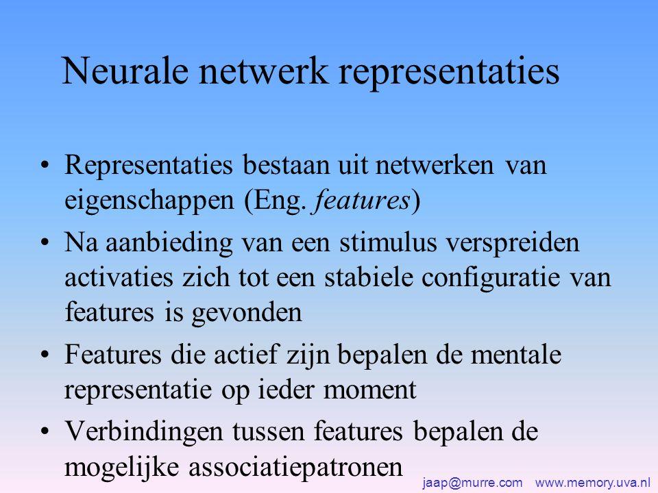 jaap@murre.com www.memory.uva.nl Neurale netwerk representaties •Representaties bestaan uit netwerken van eigenschappen (Eng. features) •Na aanbieding