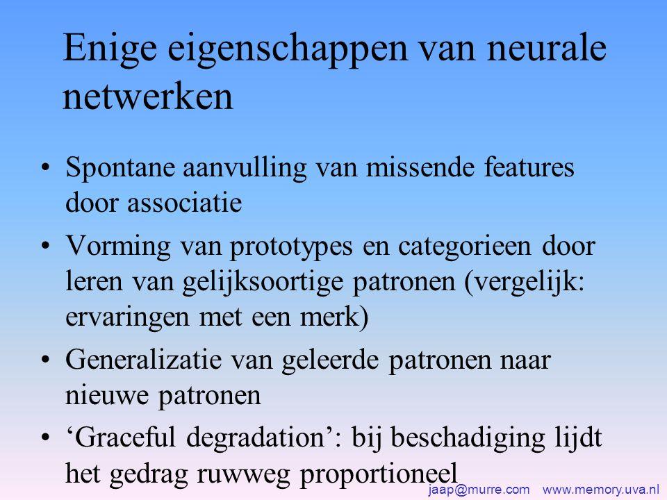 jaap@murre.com www.memory.uva.nl Enige eigenschappen van neurale netwerken •Spontane aanvulling van missende features door associatie •Vorming van prototypes en categorieen door leren van gelijksoortige patronen (vergelijk: ervaringen met een merk) •Generalizatie van geleerde patronen naar nieuwe patronen •'Graceful degradation': bij beschadiging lijdt het gedrag ruwweg proportioneel