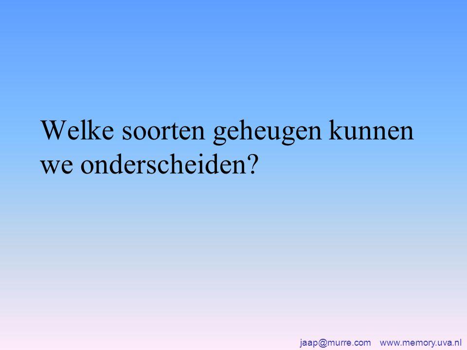 jaap@murre.com www.memory.uva.nl Welke soorten geheugen kunnen we onderscheiden?