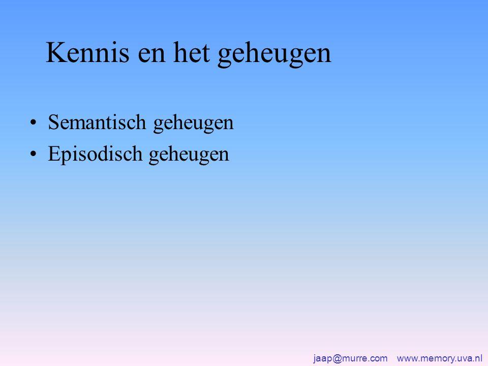jaap@murre.com www.memory.uva.nl Kennis en het geheugen •Semantisch geheugen •Episodisch geheugen