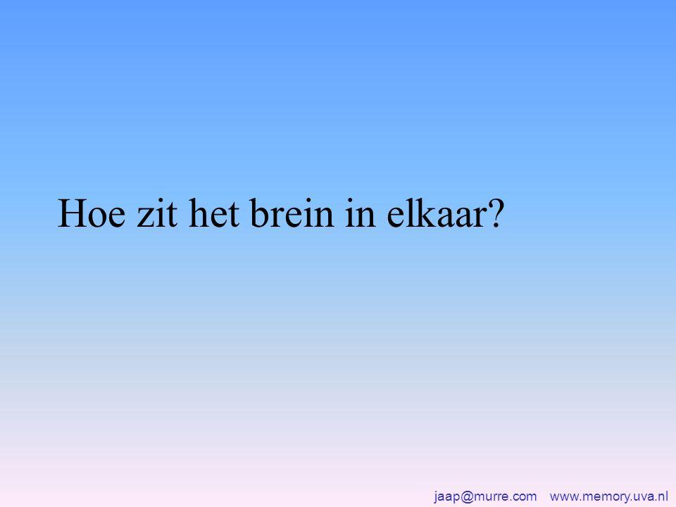 jaap@murre.com www.memory.uva.nl Anterograde amnesia •Hoofdoorzaak: verlies van het modulatoire systeem •Ook: verlies van linkneuronen